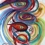 Auge des Drachen / 2017 / Aquarell, Blattgold 24 Karat