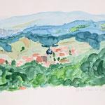 Blick auf Langensendelbach - (40x30 / 2001 / Aquarell)