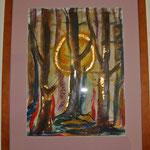 Winterwald - (50x40 / 2014 / Öl mit Blattgold) - Preis: € 320,-