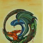 Drache - Symbol der Unendlichkeit - (40x30 / 2015 / Öl)