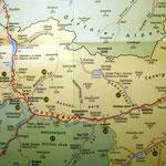 Karte des Vinschgaus mit unserem Ort Mals am Etschknie