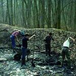 Entschlammung der ehemaligen Tischteiche im Offenauer Wald 1980.