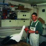 Michael Neutz bei der Herstellung unseres Wahrzeichens für die Stadtfesthütte 1998.