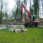 Vorbereitungsarbeiten für das Domizil der Naturschutzverbände auf der Landesgartenschau Bad Rappenau 2008.