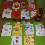 kartki Walentynkowe wykonane przez uczestników półkolonii