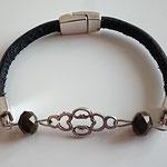 Lederarmband 5 mm, silber Zwischenstück, Perlen, Magnetverschluss Euro 12,00