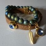 Natursteinperlenarmband, Hematite Perlen rund 8mm Matt Indicolite blue, mit Swarovski Stein in ozean blue und Engelsflügel gold