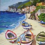 barche copia d'autore olio su tela 35 x 45  (collezione privata)