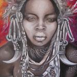 Mursi girl   grisaille      5ox60  (collezione privata)