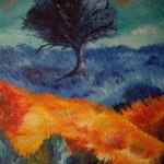 orange and blue  spatolato olio 100 x80