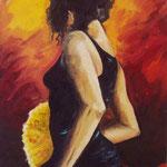 flamenco olio su tela 40x60