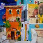 città colore   spatolato olio   60x 70  (collezione privata)