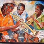 music in the street olio su tela 60x70
