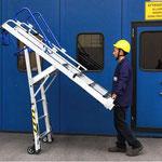 Escalera telescópica con plataforma