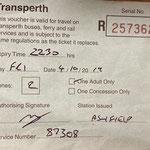 Fahrkarte durch die Aufsichtsorgane ausgestellt