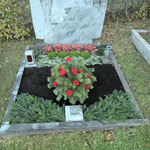 Herbstbepflanzung und gesteckte Rosenschale