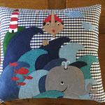 Cuscino racconta favole - Pinocchio sfondo blu  - Miaodress Creative Design - Handmade - Italian Style