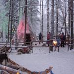 Accampamento con lenne al villaggio di Babbo Natale