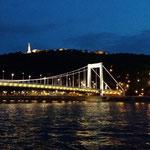 Il Ponte Elisabetta di notte e sullo sfondo la statua della libertà alla cittadella