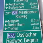 cartelli indicatori dei percorsi ciclabili