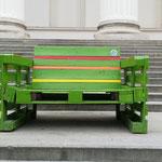 Una panchina caratteristica costruita con i bancali