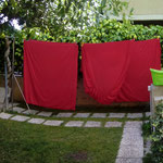 Vorgarten mit roter Waesche