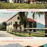 """Der alte """"Gasthof zum Höllengebirge"""" in Steinbach am Attersee (Vorderansicht und Rückansicht)  und das Komponierhäuschen von Gustav Mahler am Attersee"""