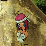 "Graffiti sur le mur de l'escalier du local de ""Radio Calvi Citadelle"""