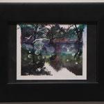 『飛ぶ鳥』 82×106mm /ポラロイドフィルムにアクリル絵具/ Collaboration with Chloe Jafe