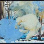 White Bears / oil on iglass, guash on paper  375 * 325 mm / 2010