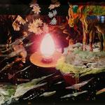 『春のあらし』H337×W442×D14mm ガラス、写真、アクリル絵の具