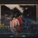 『会話』415×510mm /ガラスに油彩・ハーネミュール紙にアクリル絵の具・水彩絵具/ Collaboration with Chloe Jafe