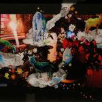 『親鸞上人』H337×W442×D14mm ガラス、写真、アクリル絵の具
