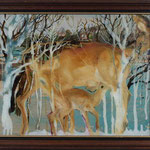 Milky Deer  / oil on plexiglass, oil on boad   625 * 520 mm / 2010