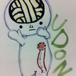 とら猫さんが書いてくれたツル!忍法巨大化の術をした僕を、うまげに描いてくれてるツル!