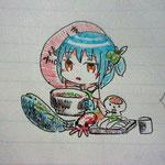 香川おりーぶさんが書いてくれたイラストツル!オリーブはまち美味しそうツル!