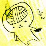 てらどんさんが描いてくれたツル!裏紙の文字と、イラストのジュジュミ(にじみ)が格好いいツル!