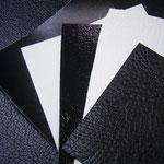左から本革風 艶あり白黒 シボあり白黒