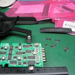 パイプレーザ用リモコン基板修理(内部腐食の為パターン修復修理と、スイッチ&チップ交換)