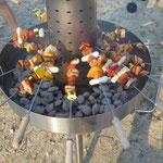 Chromstahl Party Spiessgrill für 40 Personen, zerlegbar und leicht zum transportieren