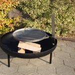Mobile Feuerschale mit Grillhalterung, Glutenrost, Stahl roh, schwarz oder Inox  Ø 80/100cm