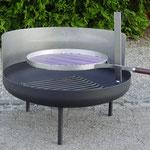 Mobile Feuerschale mit Grillhalterung, Glutenrost  und Windschutz, Stahl roh, schwarz oder Inox Ø 80/100cm