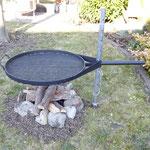 Party-Grill komplett, Ø 80 cm, mit Standrohr, - Bodenhülse und Grillrost Stahl schwarz höhenverstellbar 20.080