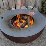 Halbkugel Feuertisch Stahl rostig, Grillplatte aus Stahl oder INOX Ø 80/100cm  44.080/44.180/44.100/44.110