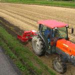 溝掘り(降水の際、水の流れを良くする溝を掘っています)