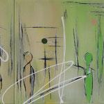 der Markt, 110 x 50 cm, Acryl auf Leinwand
