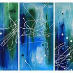 Ocean-Verwandlung (links, mitte & rechts), 3 x 40 x 80 cm, Acryl auf Leinwand