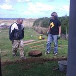 préparation des plots de la future terrasse