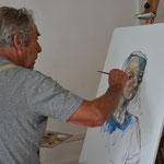 Karl-Heinz Beck beim Porträtieren