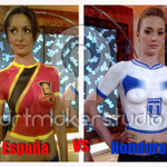 "Body paint camisetas ESPAÑA vs HONDURAS ""Espejo Público"" Antena 3 TV"